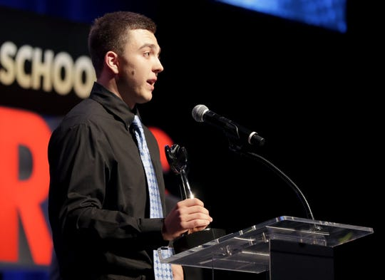 Green Bay Preble's Max Wagner speaks during the Wisconsin High School Sports Awards show last May at the Fox Cities Performing Arts Center in Appleton. He was named the player of the year in baseball.