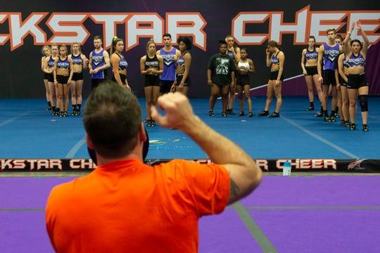 Scott Foster coaches practice at Rockstar Cheer Sunday, Mar. 8, 2020.
