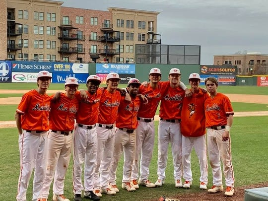The seniors of Mauldin's baseball team following its win over Blythewood Saturday at Flour Field in Greenville. The Greenville Drive honored seniors from Mauldin, Blythewood, Riverside and A.C. Flora following the games.