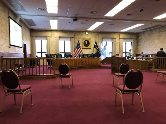 To meet social distancing directives, chairs are spread apart at Great Falls City Commission meeting earlier this month.