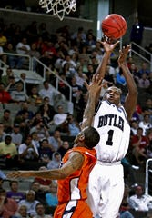 Butler's Shelvin Mack hits this first half 3-pointer. In NCAA Mens Basketball West Region action the #5 seed Butler mens basketball team defeated #12 seed UTEP 77-59 at the HP Pavilion in San Jose, CA on Thursday, March 18, 2010. Butler will move on to play Murray State Saturday. (Sam Riche / The Indianapolis Star)