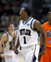 Butler's Shelvin Mack reacts after hitting yet another second half 3-pointer. In NCAA Mens Basketball West Region action the #5 seed Butler mens basketball team defeated #12 seed UTEP 77-59 at the HP Pavilion in San Jose, CA on Thursday, March 18, 2010. Butler will move on to play Murray State Saturday. (Sam Riche / The Indianapolis Star)