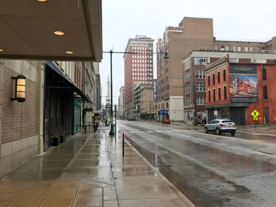 Empty streets near Circle Centre mall, which is closing amid fears over COVID-19, Indianapolis, Wednesday, March 18, 2020.