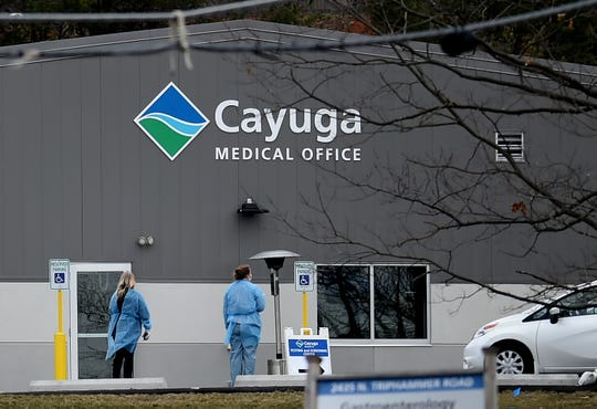 A drive-thru coronavirus testing center on Craft Road in Lansing. The testing center, which opened earlier this week, is operated by Cayuga Medical Center. March 18, 2020.