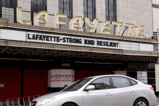 """The marquee of the Lafayette Theater reads """"Lafayette - Strong Kind Resilent,"""" Wednesday, March 18, 2020 in Lafayette."""