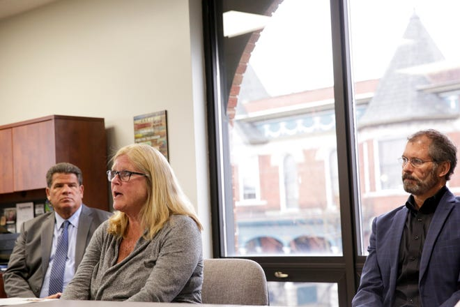 Debi DeBruyn, president and CEO, speaks during a press conference at Right Steps Child Development Center while flanked by Lafayette Mayor Tony Roswarski and West  Lafayette Mayor John Dennis, Wednesday, March 18, 2020 in Lafayette.