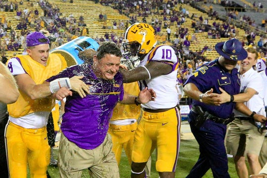 LSU football coach Ed Orgeron is shown after a 2016 game against Missouri.