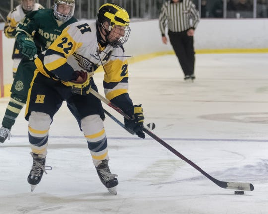 Hartland senior Kieran Carlile hopes for the opportunity to win a third state hockey championship.
