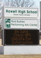 The marquee at Howell High School, shown Tuesday, March 17, 2020, sends a message of safety as all schools are shut down due to the coronavirus.