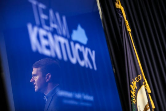 Kentucky Gov. Andy Beshear is reflected in a video monitor as he addressed the press and cameras during his daily update media conference regarding the coronavirus outbreak.  March 17, 2020.