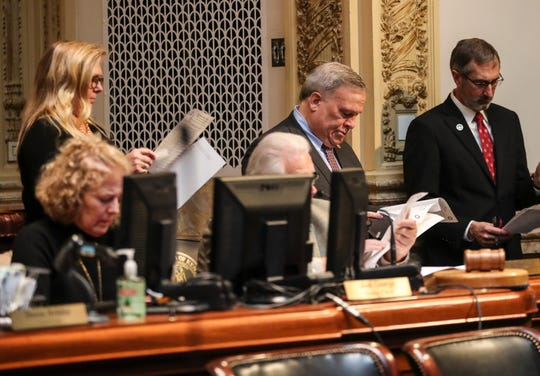 Kentucky Senate President Robert Stivers during a senate session at the Kentucky state capitol. March 18, 2020.