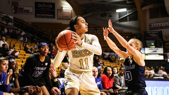 Holt graduate Kamrin Reed (11) started 29 games and made 43 3-pointers for Western Michigan this winter.