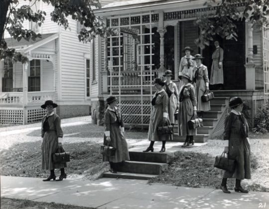 Nurses in 1922 in Mansfield get a head start as they go off to work. A health program was started that year in Mansfield, one of only 10 cities in the county to have one.