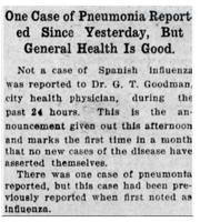 Spanish Flu then pneumonia reported in The Mansfield News, Nov. 6, 1918
