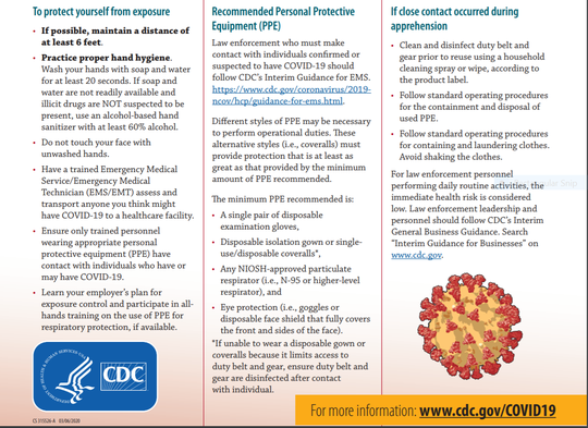 Law enforcement guidelines from the Center for Disease Control provided by Ohio Highway Patrol regarding coronavirus concerns.