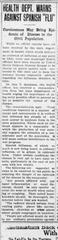 Spanish Flu, The Mansfield News, Oct. 15, 1918
