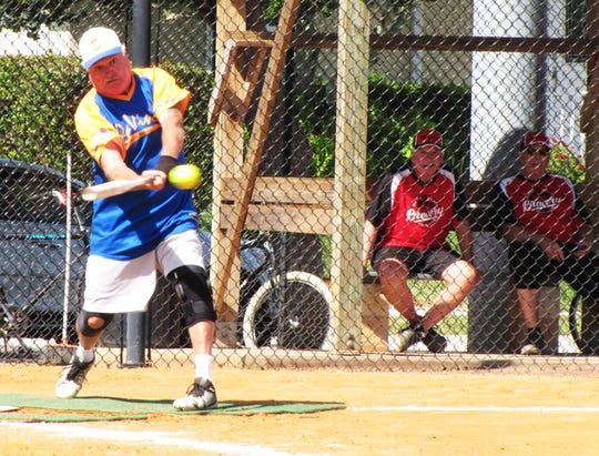 Pete Oellrich  rips one of his four hits for DaVinci's in game against the Brewery.