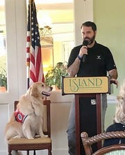 Air Force veteran Joe Mulgado and his service dog, Zelda, were guests at the February meeting of Marco Island's Daughters of the American Revolution.