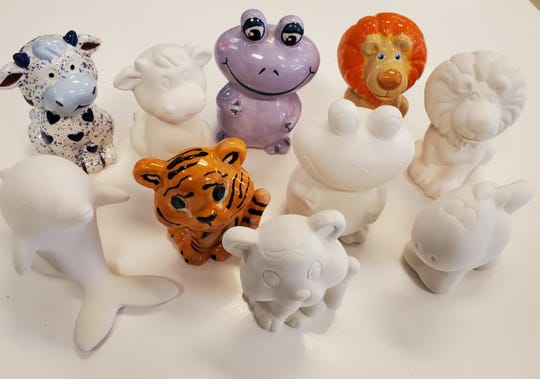 "Just Kiln' Time's ""Figurine Pottery To-Go Kit"" comes with the customer's choice of a dolphin, cow, lion, tiger, frog or pony ($19). As animals sell out, new figurines will be added."
