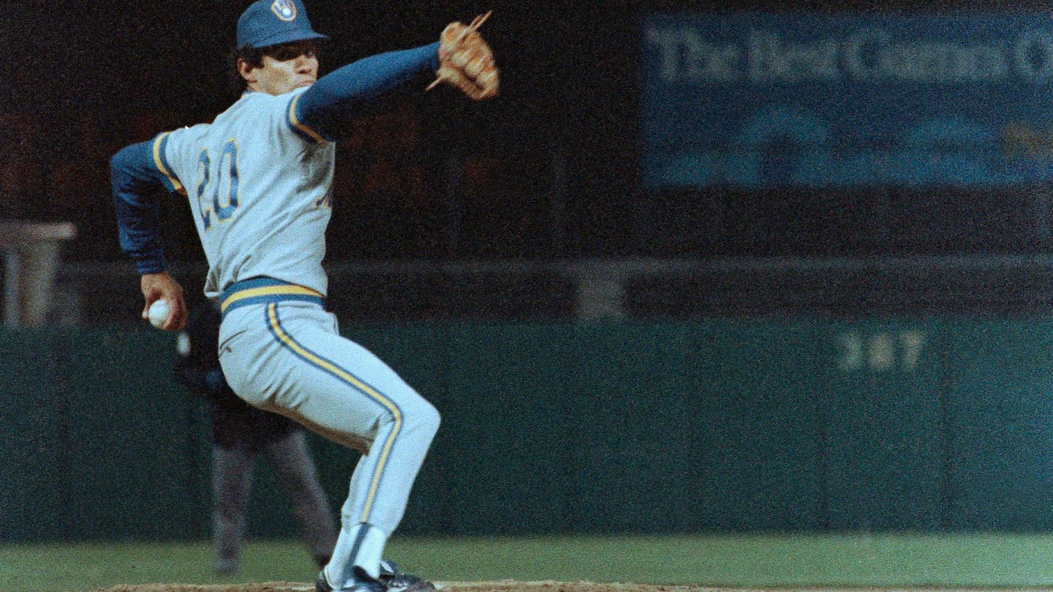 Milwaukee Brewers pitcher Juan Nieves throws the ball toward home plate en route to pitching a no-hitter against the Baltimore Orioles in Baltimore on April 15, 1987.