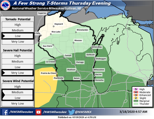 Strong thunderstorms could hit portions of the southern half of Wisconsin on Thursday.