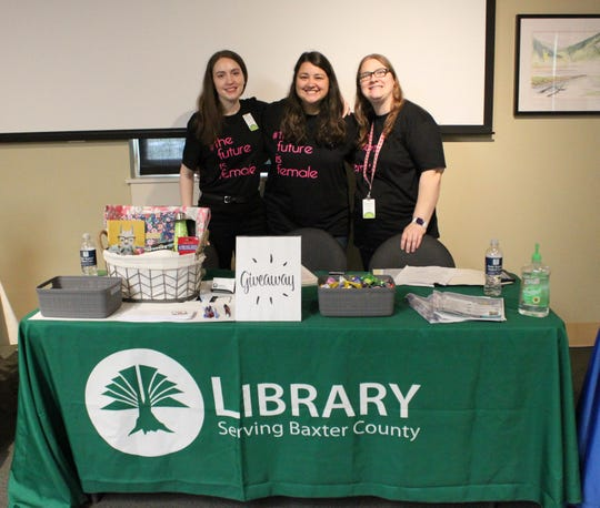Baxter County Library staff (from left) Alison Henriksen, Mariah Hansen, and Amy Johnson attended the Teen Girls Go to College event last week at ASU-Mountain Home.