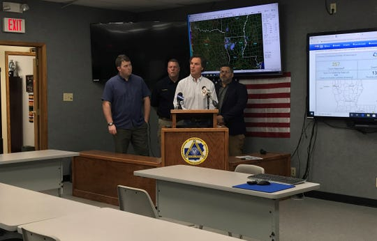 Ouachita Parish Police Jury President Shane Smiley (center, at podium) addressed the public Wednesday afternoon after the OPPJ declared a state of emergency. Police juror Scotty Robinson (from left), Homeland Security Director Tracy Hilburn and Homeland Security Director Neal Brown also were available for comment.