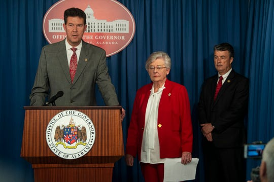 Secretary of State John Merrill speaks during a press conference at the Alabama State Capitol in Montgomery, Ala., on Wednesday, March 18, 2020.