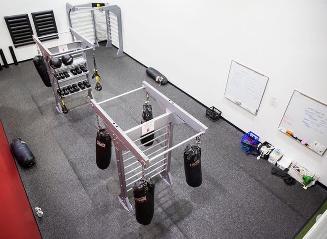 A boxing gym sits empty in Ball State's recreation center Wednesday morning.