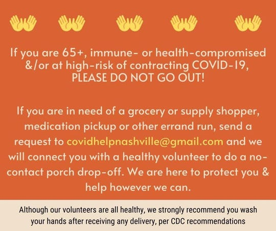 Sarah Townsend Smith, an East Nashville mother of three, has organized a volunteer delivery service for those across Middle Tennessee who are at high-risk of contracting the coronavirus.