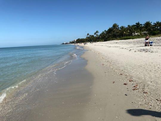 The beach near the Naples Beach Hotel was practically empty on Sunday, March 15, 2020.