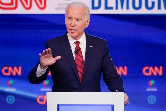 Former Vice President Joe Biden, participates in a Democratic presidential primary debate at CNN Studios in Washington, Sunday, March 15, 2020.