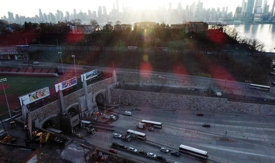 Commuters at the Lincoln Tunnel, March 2020