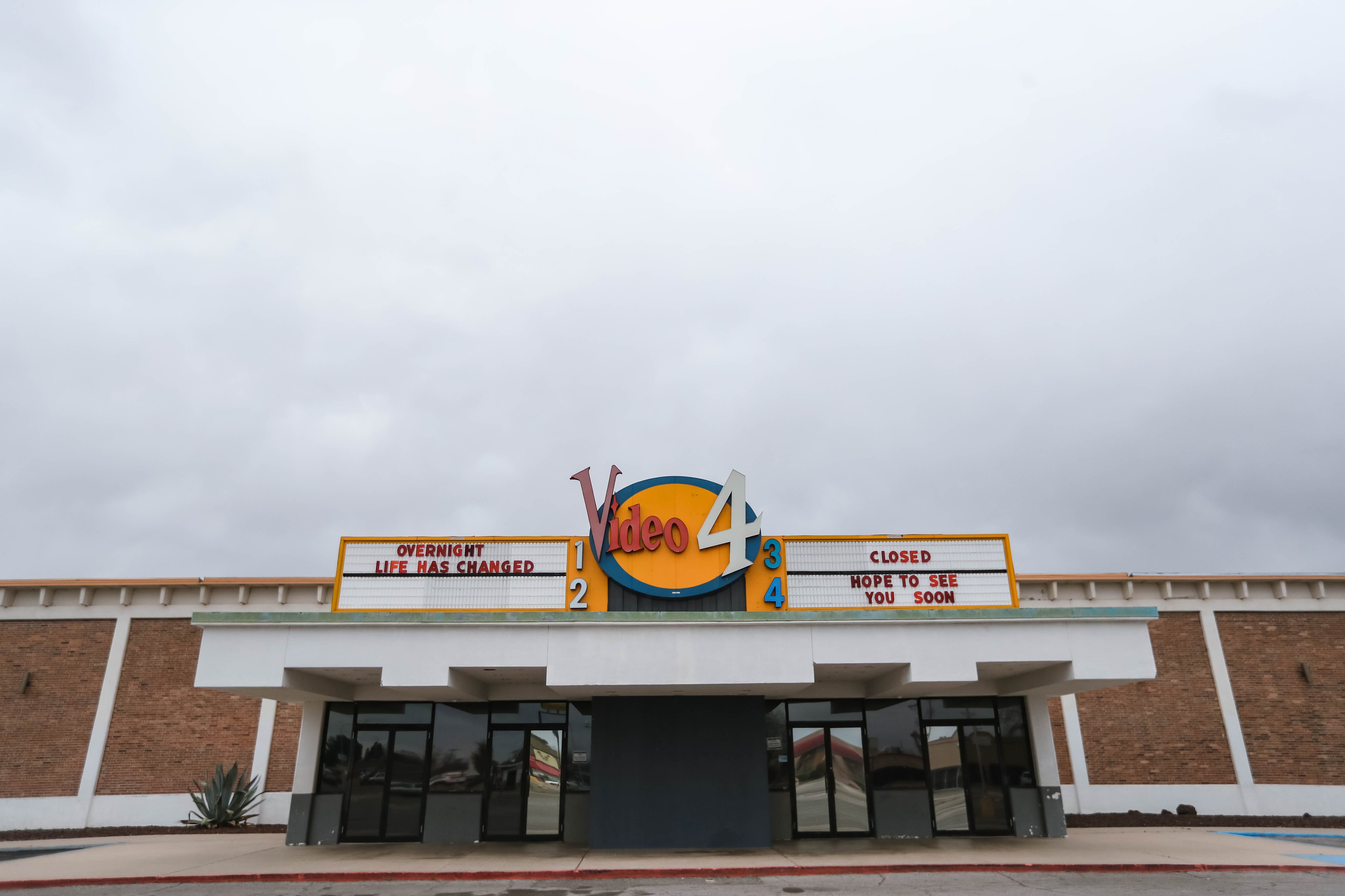"""The Video 4 in Downtown Las Cruces is closed down due to Coronavirus concerns. The Marquee was changed to say """"Overnight life has changes. Closed. Hope to see you soon,"""" on Wednesday, March 18, 2020."""