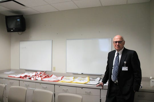 Gerald Champion Regional Medical Center CEO Jim Heckert in the hospital's command center.
