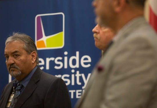 Jose Arballo Jr., Senior Public Information Specialist for Riverside University Health System speaks to the media regarding COVID-19 on March 18, 2020 in Moreno Valley.