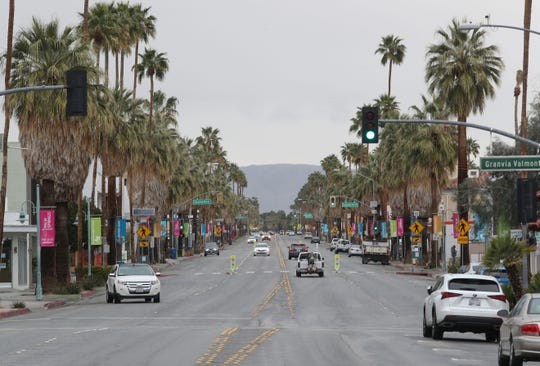 Few people were out and about on Palm Canyon Dr. in downtown Palm Springs as the coronavirus forces people to stay home, March 18, 2020.