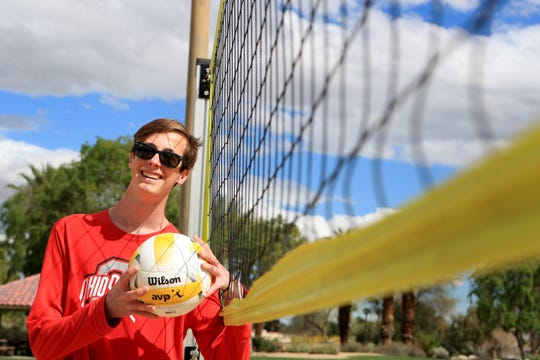 Benjamin Braun, a 6-foot-10 Palm Desert High schooler who plays volleyball, uses the beach volleyball courts at Civic Center Park in Palm Desert, Calif., on Tuesday, March 17, 2020. Braun has committed to play volleyball for Ohio State.