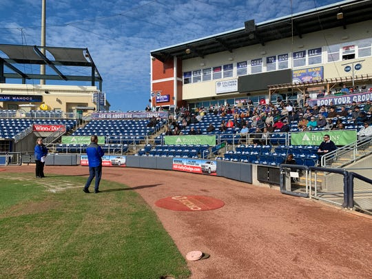 Pensacola Blue Wahoos owner Quint Studer speaks to employees at Blue Wahoos Stadium in an undated photo.