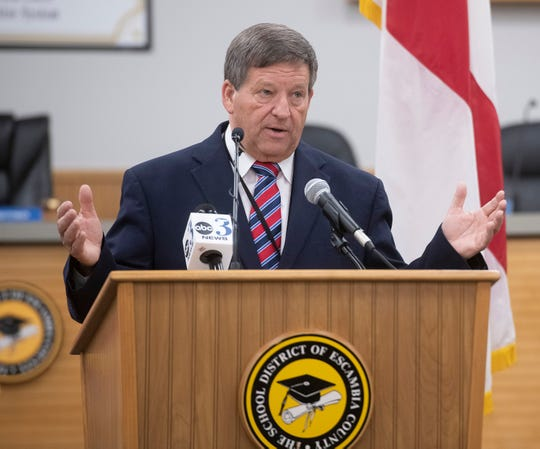 Escambia County School District Superintendent Malcolm Thomas talks at a press conference Wednesday about how the district will continue to provide instruction for students from March 30 through April 15.