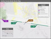 A map of the border wall in Cochise County.