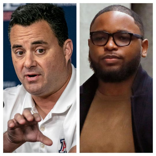 Arizona basketball coach Sean Miller, left, and convicted sports agent Christian Dawkins.
