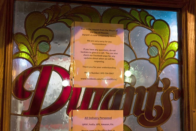 Durant's and other Phoenix restaurants are closed to dine-in traffic after the mayor declared a state of emergency.