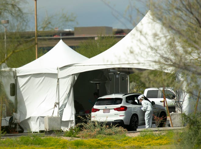Coronavirus testing at a mobile site set up by Mayo Clinic Hospital in Phoenix.