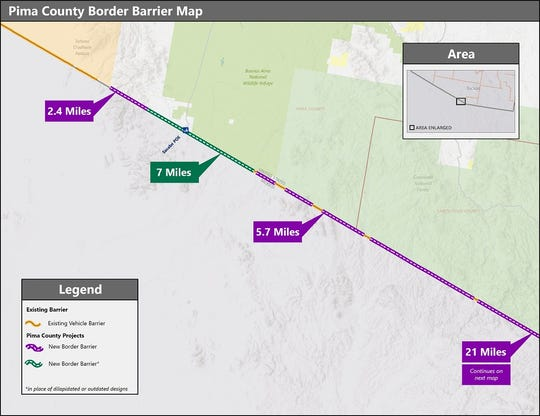 A map of the border wall in Pima County.