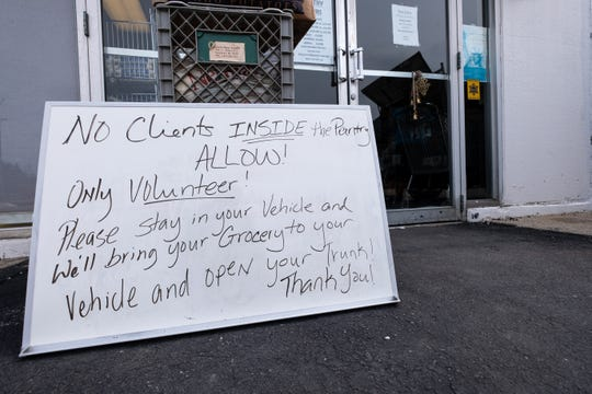 Normally visitors to SOS Marysville Food Pantry allowed in the store, but to help prevent the spread of coronavirus, they are being asked to wait in their vehicles.