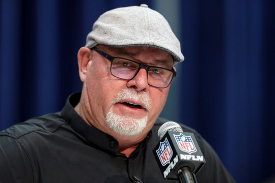 Tampa Bay Buccaneers head coach Bruce Arians speaks during a press conference at the NFL football scouting combine in Indianapolis, Tuesday, Feb. 25, 2020. (AP Photo/Michael Conroy)