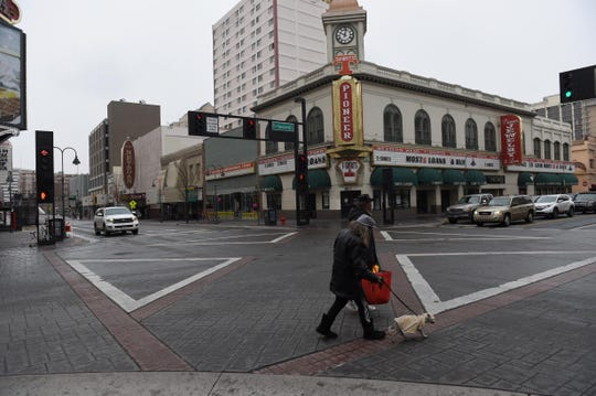 Images from downtown Reno on Wednesday March 18, 2020. The Nevada Governor Steve Sisolak ordered all nonessential businesses and casinos to be closed to prevent the spread of the coronavirus.