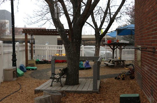 The Child and Family Research Center daycare playground is seen on the final day before closing on the campus of the University of Nevada, Reno on March 18, 2020.