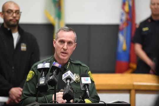Sheriff Darin Balaam speaks at a new conference on Wednesday, March 28, one day after Gov. Steve Sisolak announced a widespread business shutdown to stem the spread of coronavirus.